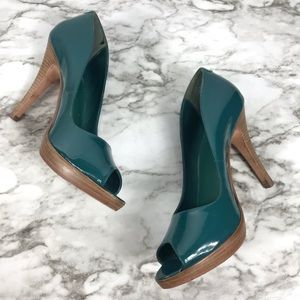 Aldo Women's Turquoise Peep Toe Pumps Size 7.5M